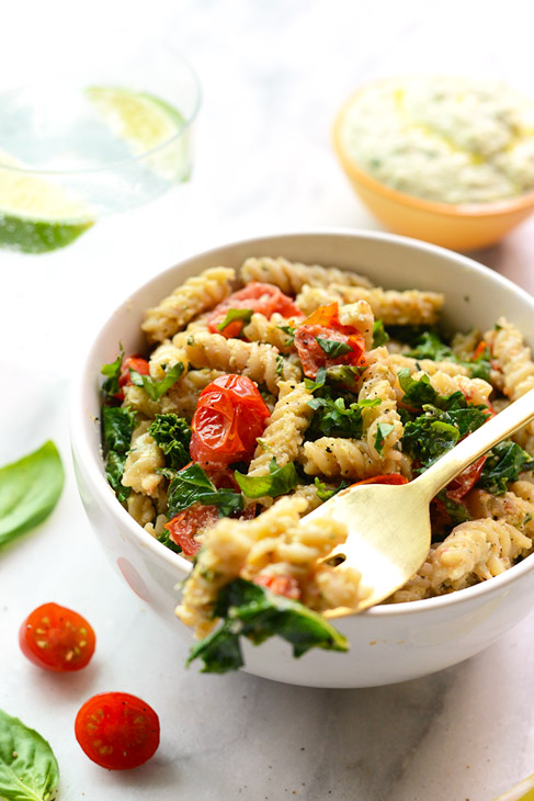 Creamy Vegan Pasta With Sauteed Kale and Tomatoes
