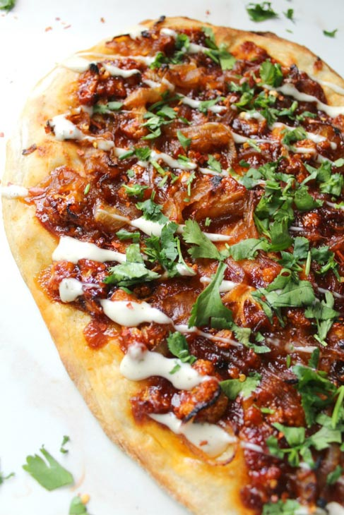 vegan roasted cauliflower bbq pizza