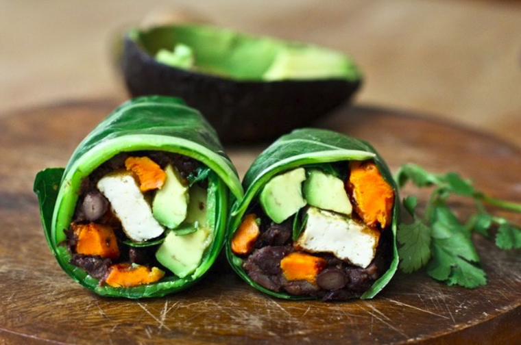 collard green wraps with sweet potato and chipotle black beans