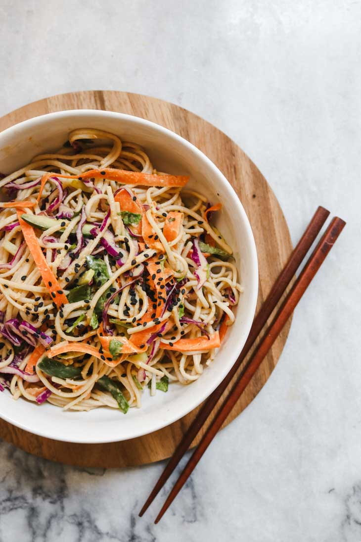 Cold Soba Noodle Salad with Peanut Sauce