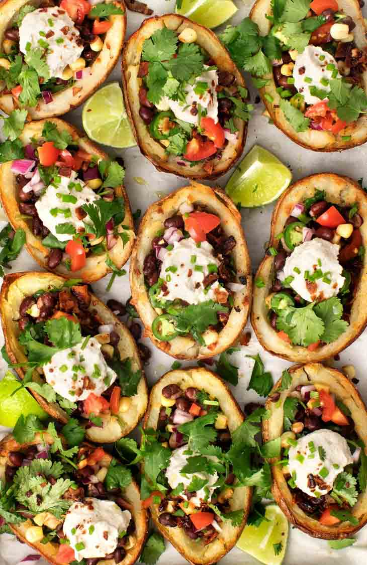 Healthier (Vegan) Stuffed Potato Skins