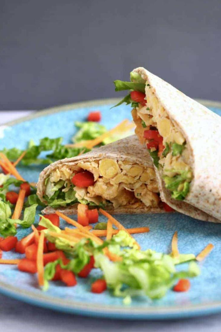 Vegan Chickpea Caesar Salad Wraps