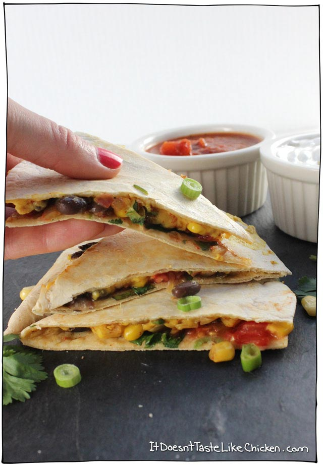 Vegan Black Bean and Corn Quesadilla