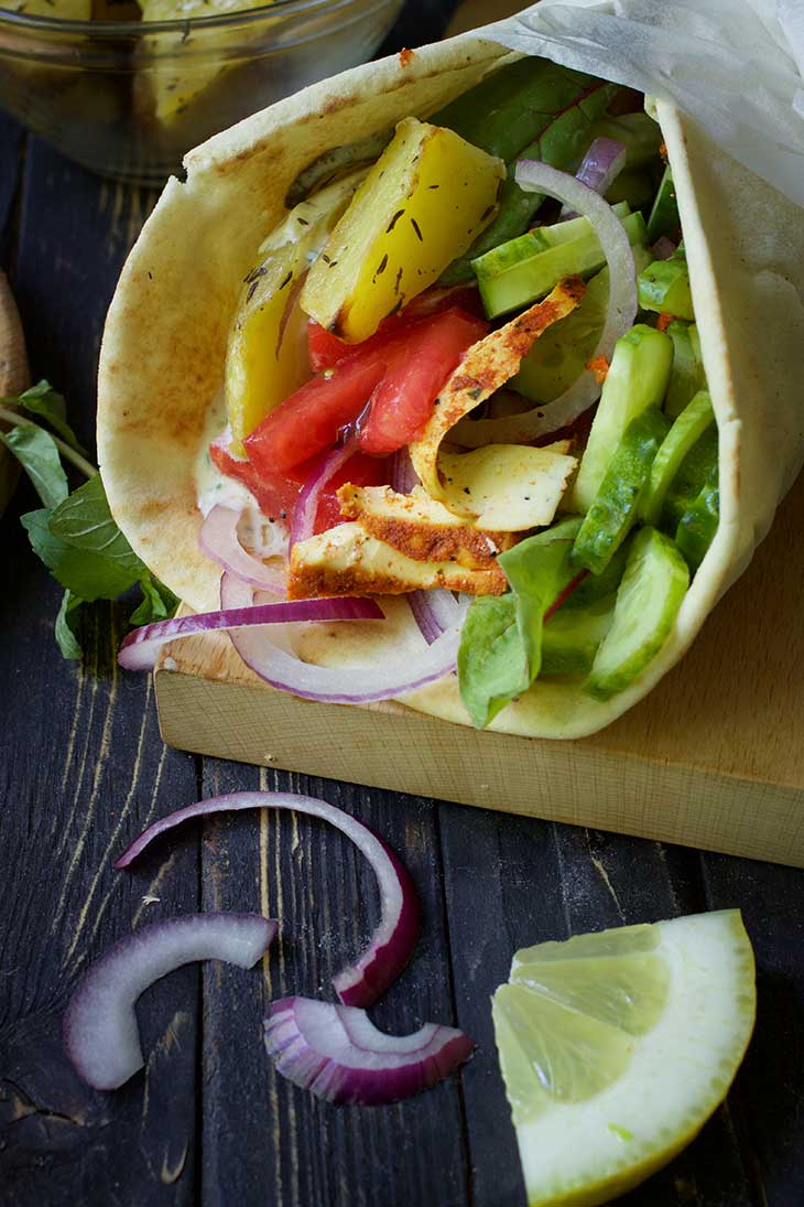 Vegan Gyros recipe Greek Wrap recipe