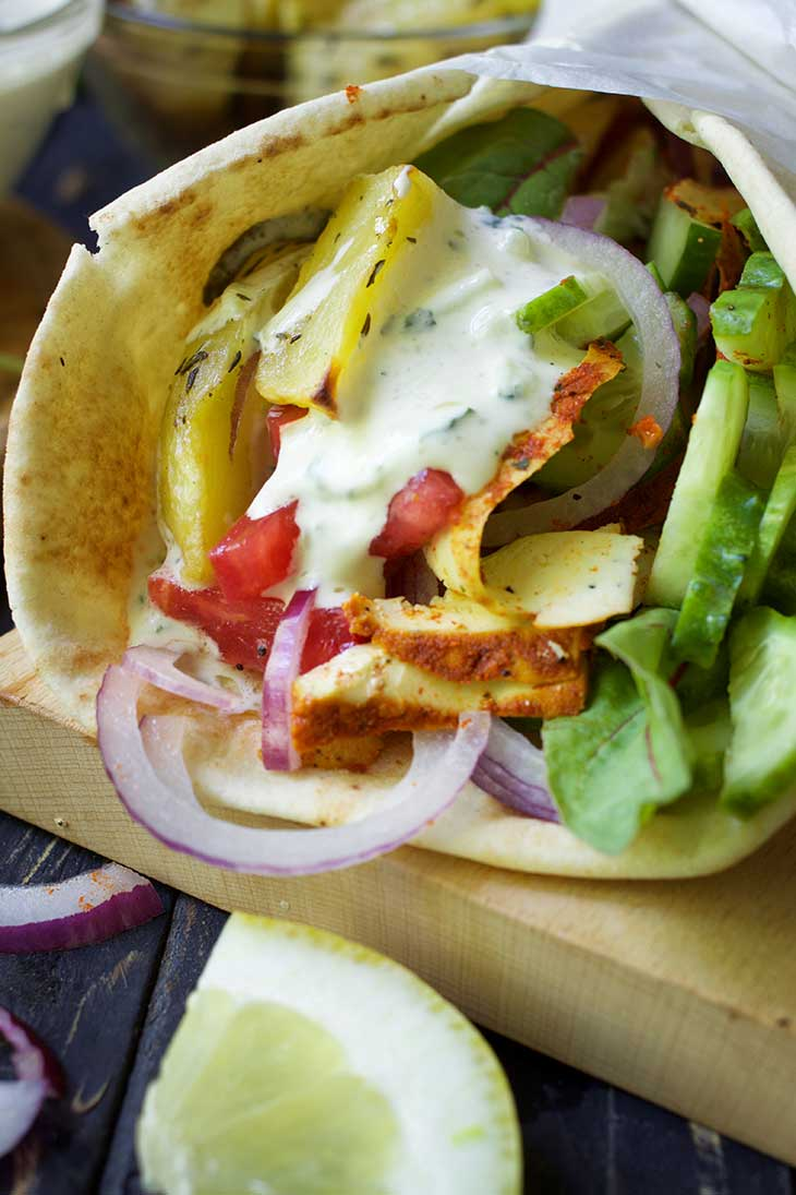 Vegan Gyros with vegan tzatziki Greek Wrap recipe