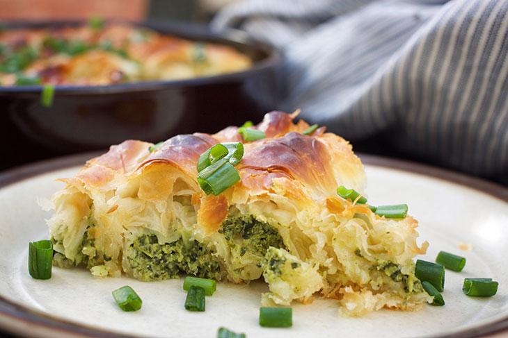 Vegan Spanakopita Greek Spinach Pie recipe with tofu