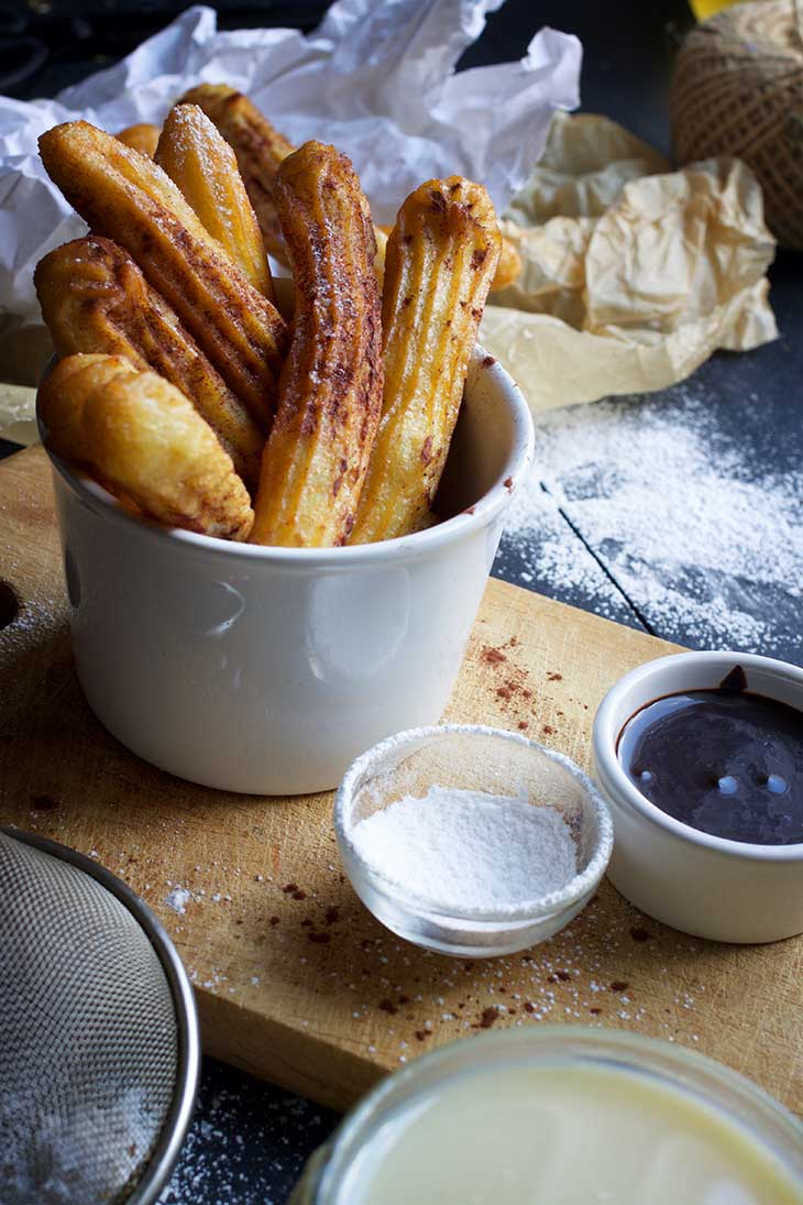 Vegan Churros with Chocolate Sauce and Dulce de Leche