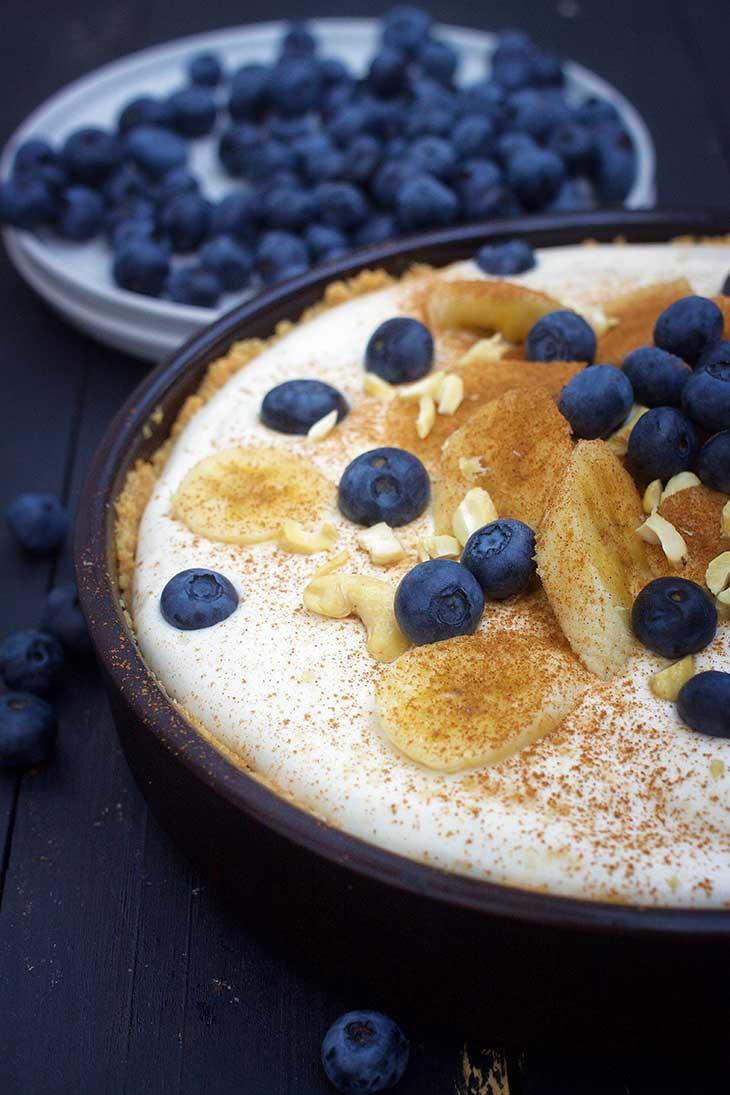 Vegan Banana Cream Pie recipe vegan banoffee pie tarta cu banane