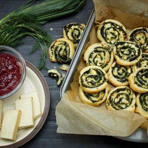 Vegan Spinach Pinwheels rulouri cu spanac