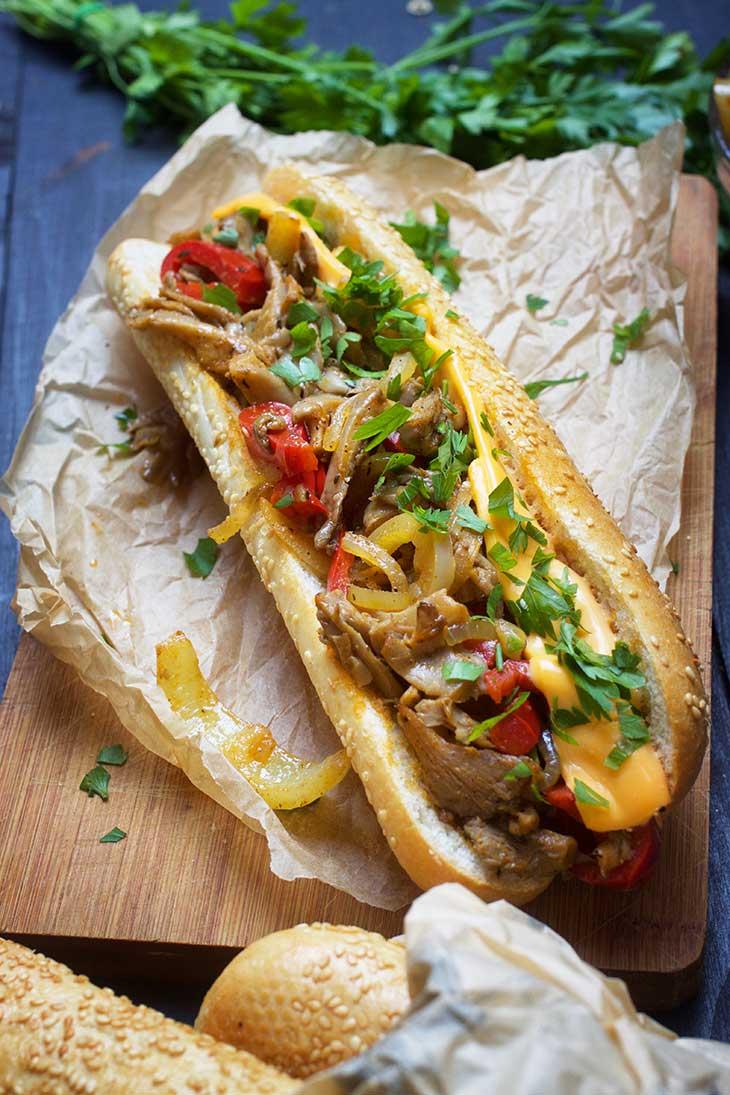 healthy vegan phylly cheesesteak