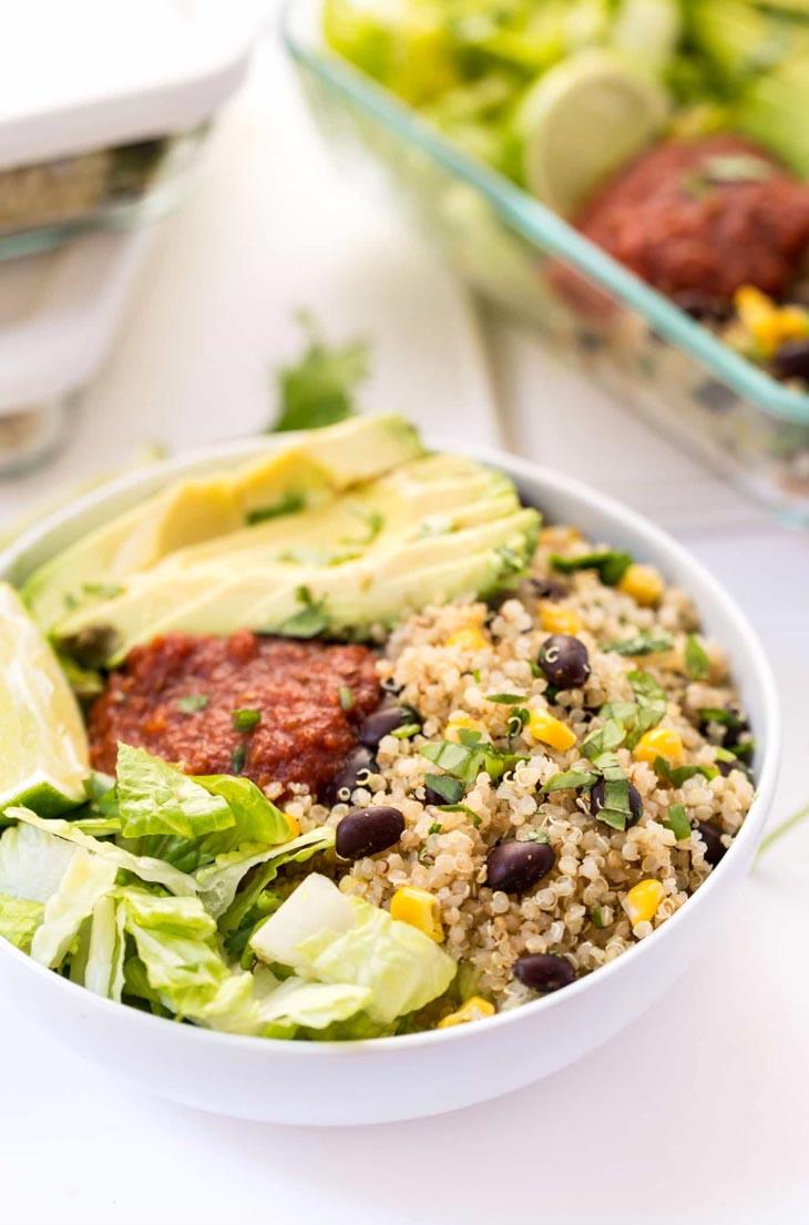 Vegetarian Quinoa Burrito Bowls Meal Prep Recipe