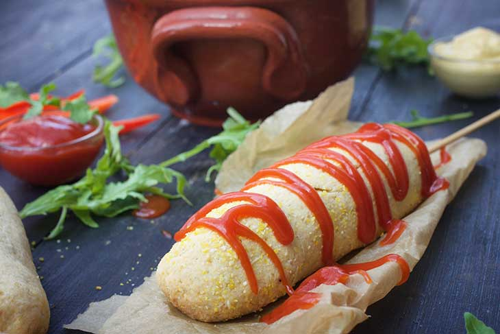healthy vegan corndogs