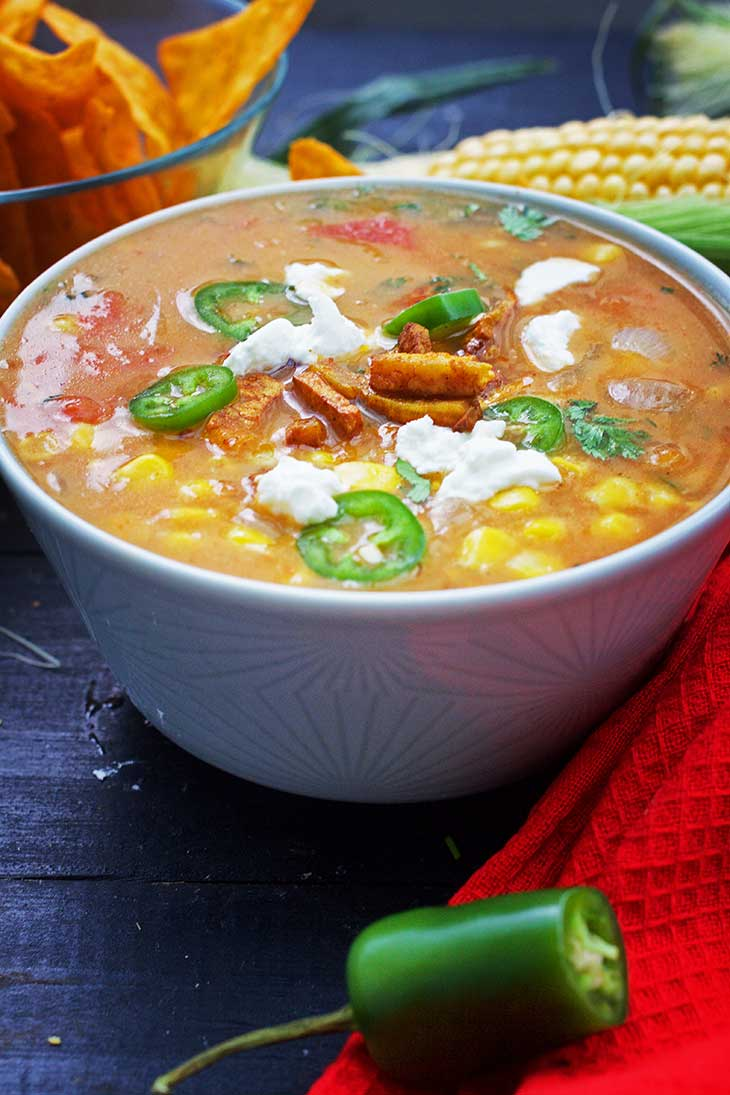 Mexican Sweet Corn Soup with Jalapenos