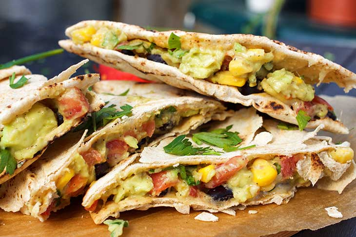 Mexican Vegan Quesadillas vegetariene