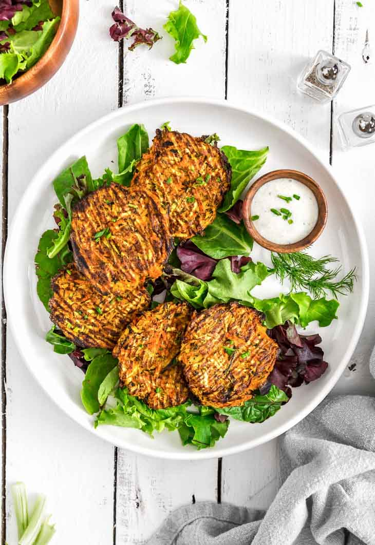 No Oil Vegan Buffalo Zucchini Fritters