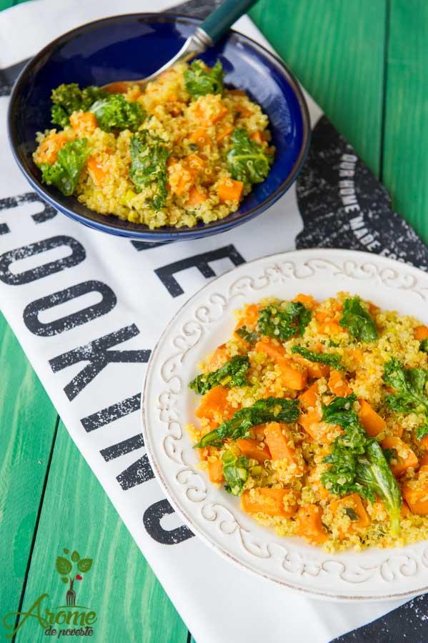 Salata de quinoa, cartof dulce si kale