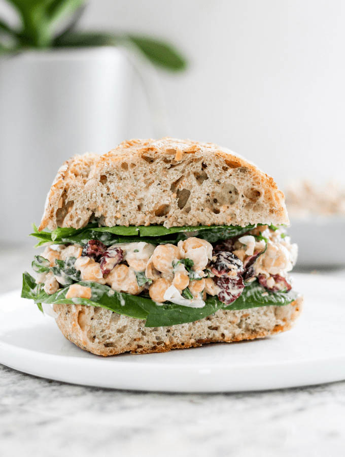 Vegan cranberry chickpea salad sandwiches