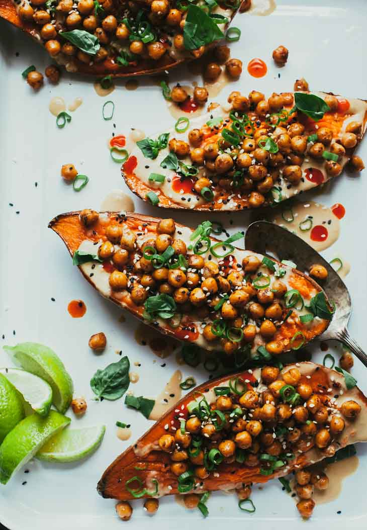 "Stuffed & Sauced Sweet Potatoes From ""Minimalist Baker's Everyday Cooking"""