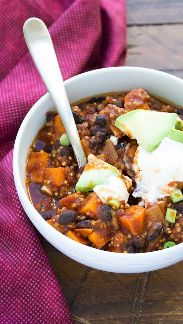 Sweet Potato and Black Bean Chili with Quinoa