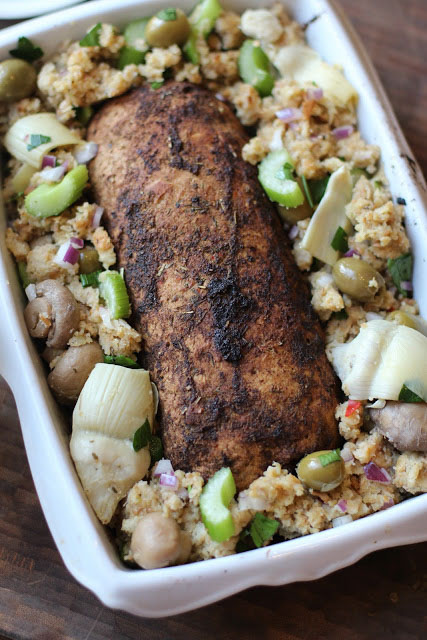 Apple, Sage & Molasses Vegan Holiday Roast with Mother-In-Law Stuffing