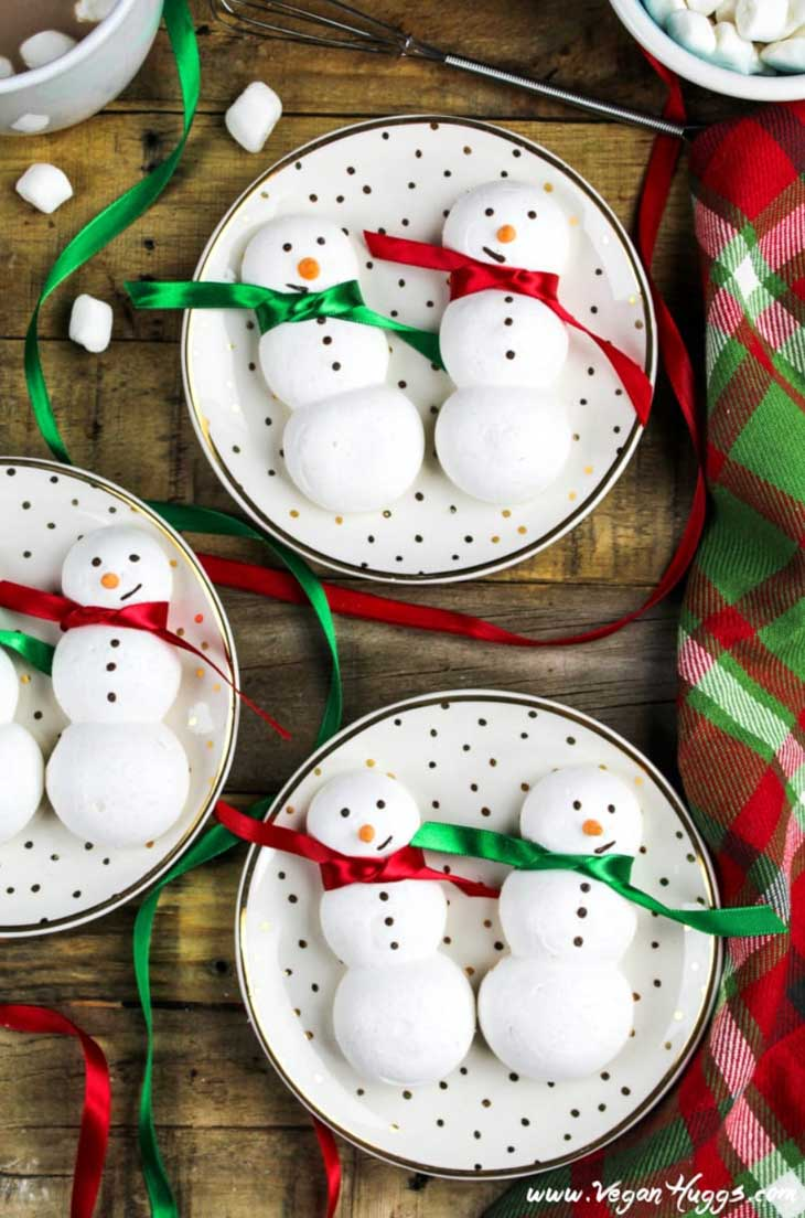 Snowmen Meringue Cookies (Vegan & GF)