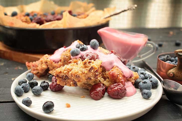 Vegan Bread Pudding with forest berries Kirschenmichel