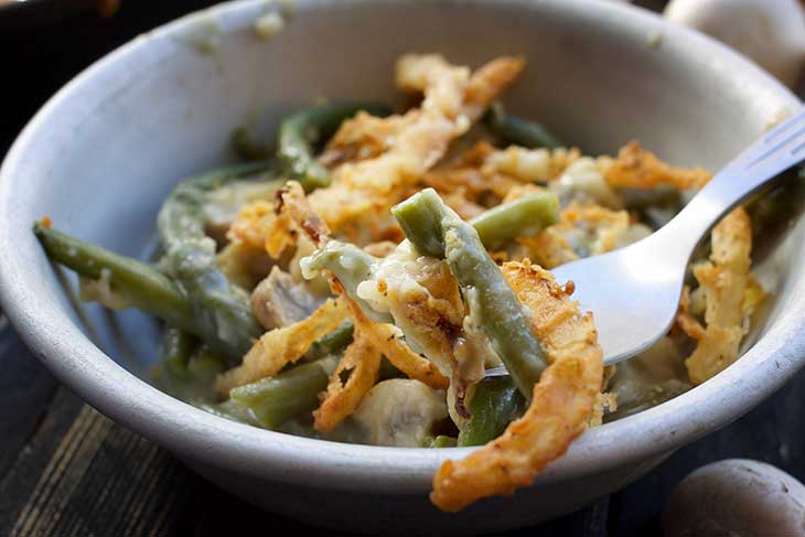 Vegan Green Bean Casserole fork