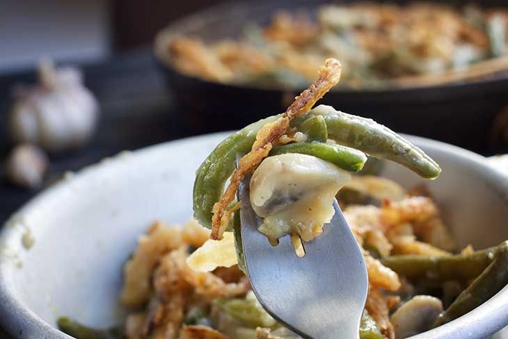 Vegan Green Bean Casserole serving