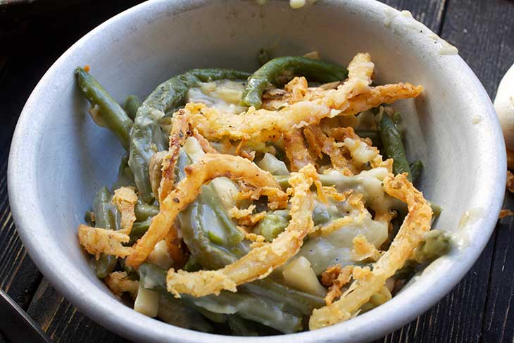 Vegan Green Bean Casserole with caramelized onion