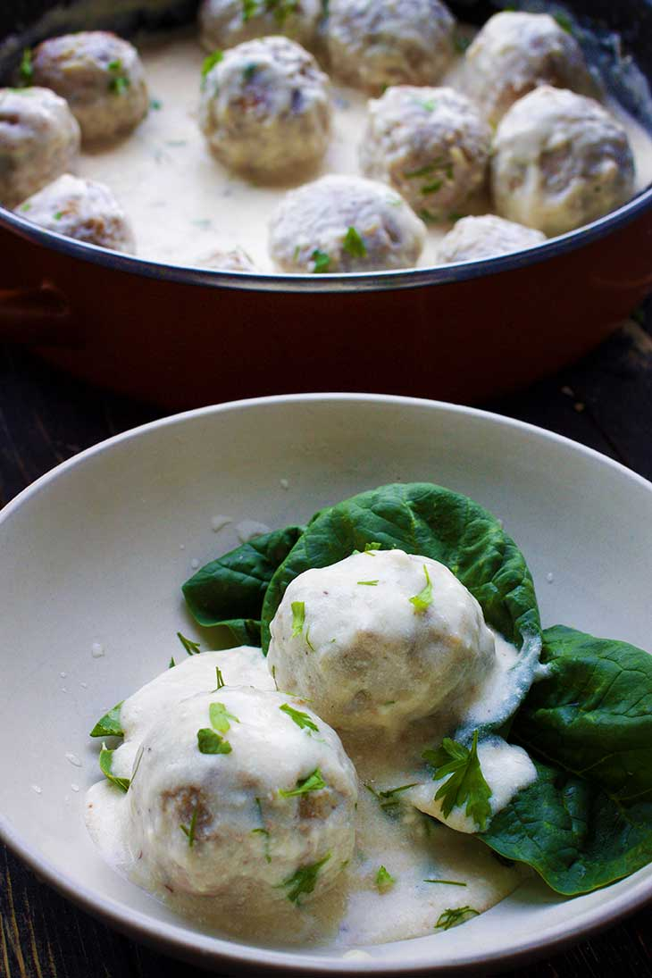 Vegan Swedish Meatballs white sauce
