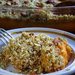 Vegan Sweet Potato Casserole serving Caserola dulce cu cartofi dulci