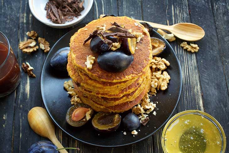 Vegan Sweet Potato Pancakes Clatite cu cartofi dulci