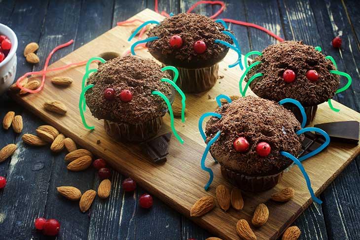 halloween vegan spider cupcakes paianjen