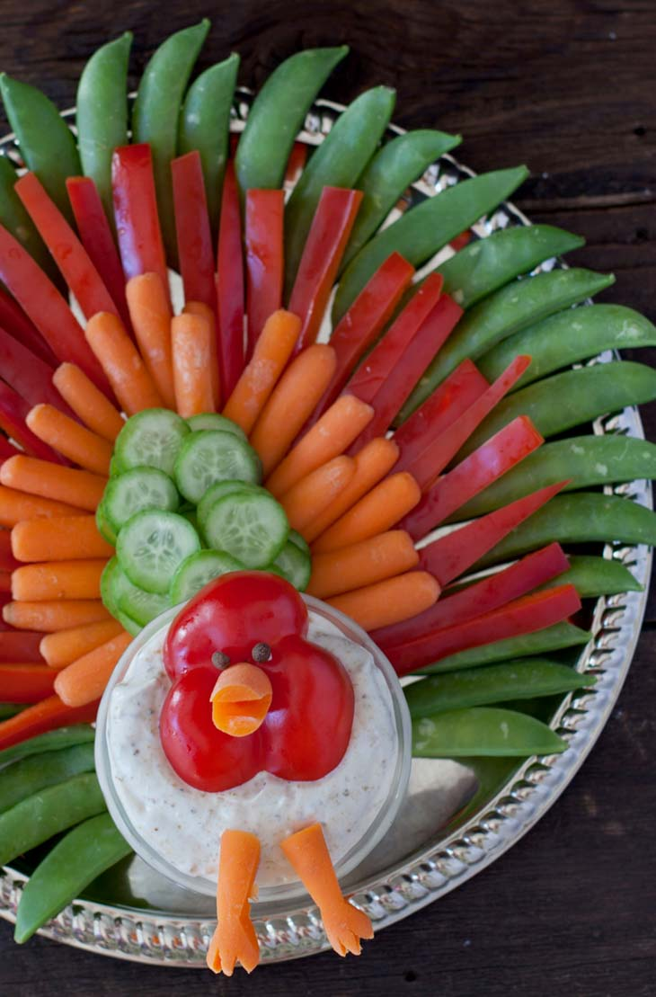 Thanksgiving turkey veggie tray kids can't resist eating