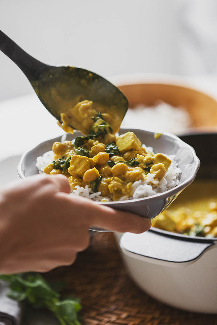 Quick & Easy Chickpea, Tofu, and Spinach Curry