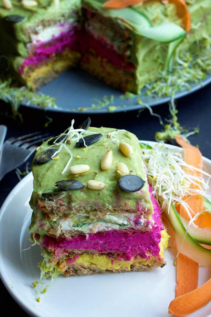 SMÖRGÅSTÅRTA Vegan Sandwich Cake slice