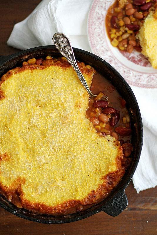 Three Bean Chili Polenta Pot Pie