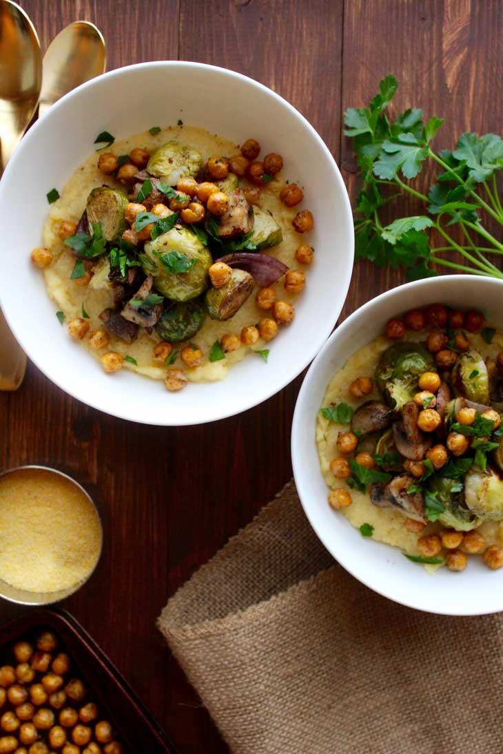 Creamy Polenta with Balsamic Roasted Vegetables & Garlic Chickpeas