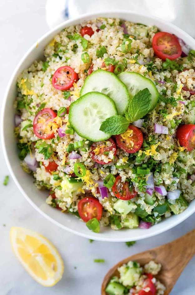 Quinoa Tabbouleh With Lemon Garlic Dressing