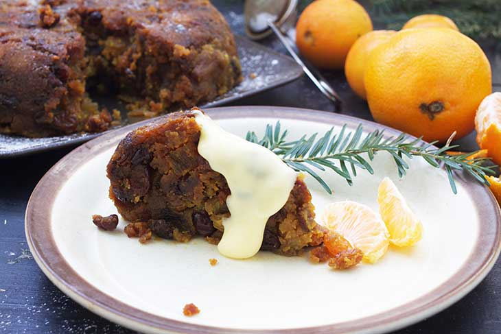 Vegan Christmas Pudding slice