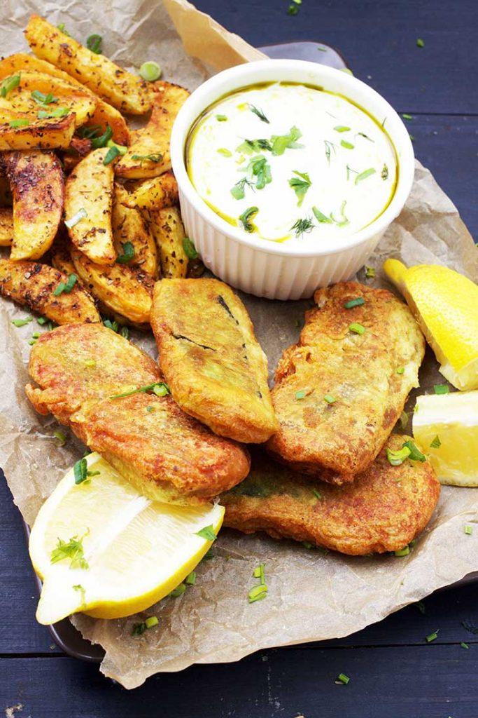 Vegan Fish and Chips recipe peste prajit vegan