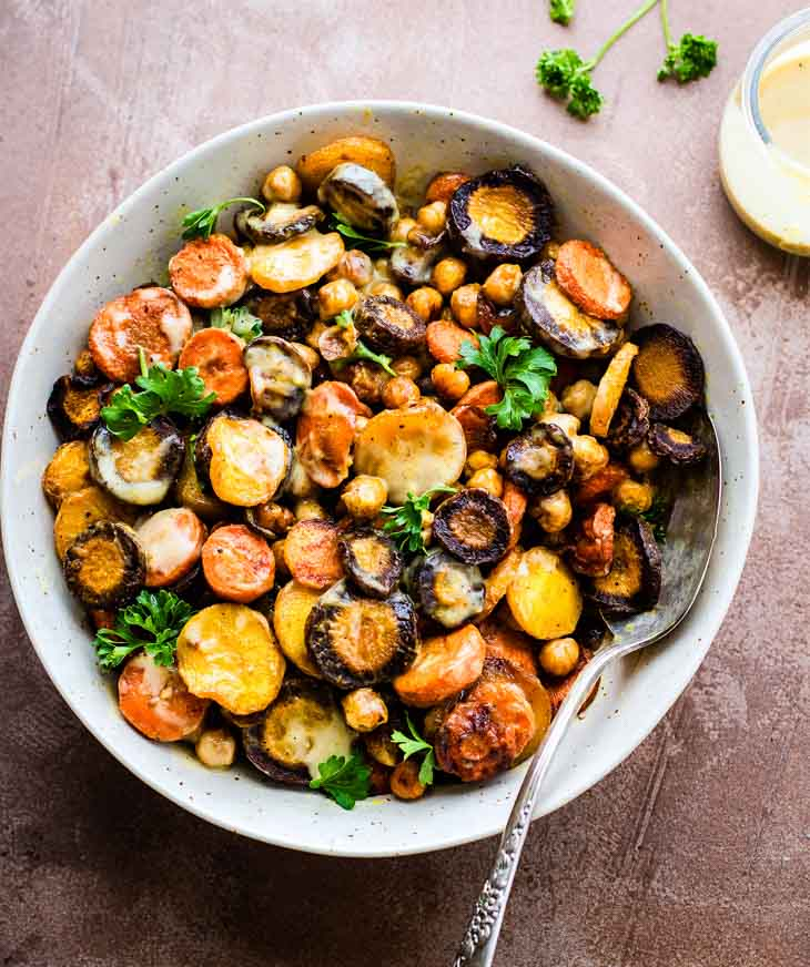 Turmeric Roasted Chickpea Carrot Salad High-Protein Salad Recipes