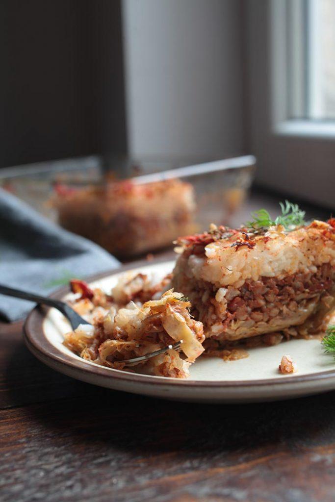 vegan Cabbage Casserole recipe varza a la cluj de post