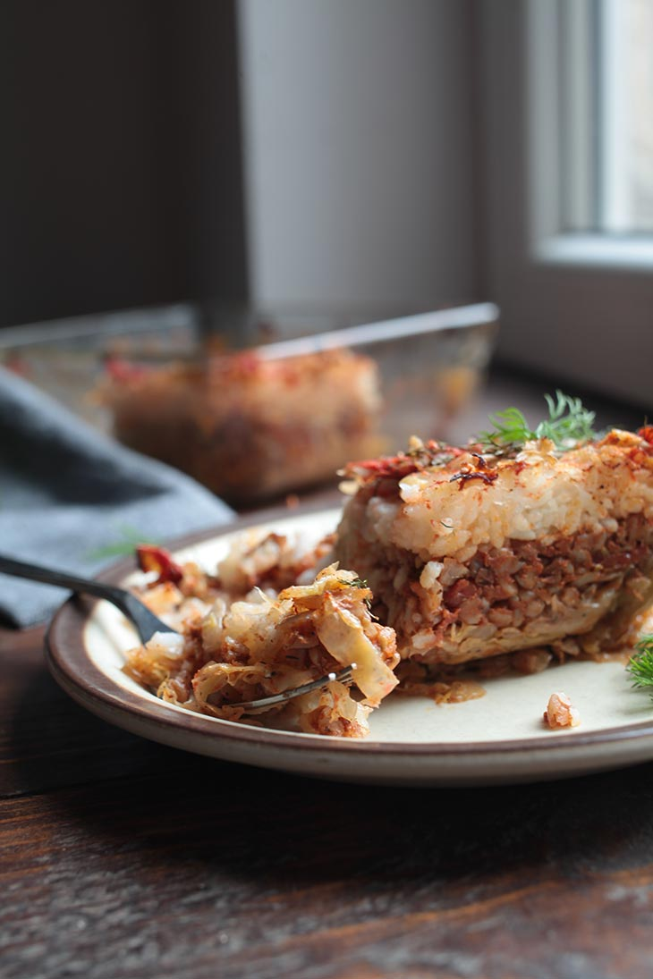 vegan Cabbage Casserole slice