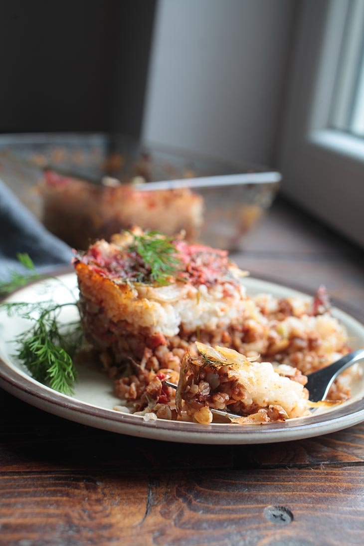 vegan Cabbage Casserole serving