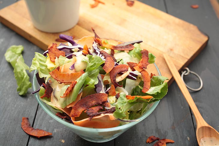 vegan coconut bacon recipe salad topping