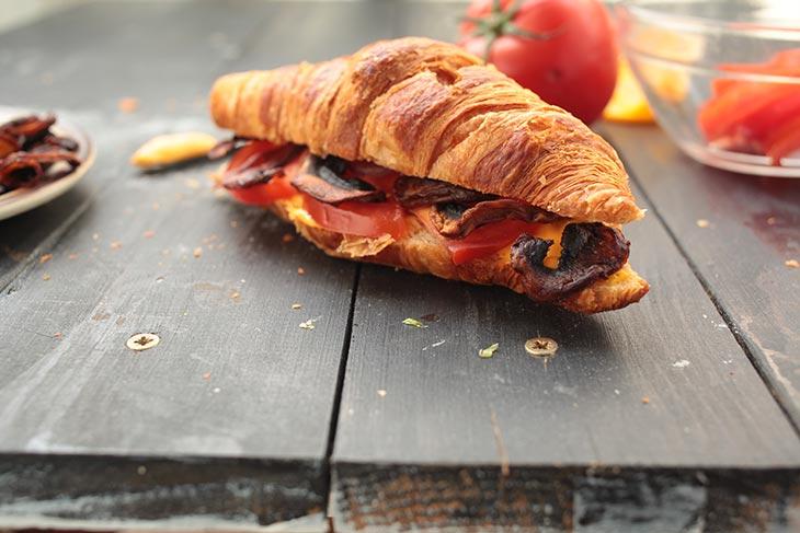 vegan mushroom bacon croissant sandwich recipe