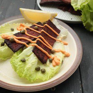vegan tofu bacon lettuce leaves