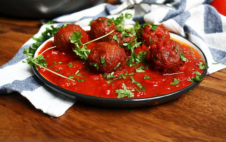 Vegan Black Bean Meatballs in Roasted Tomato and Pepper Sauce