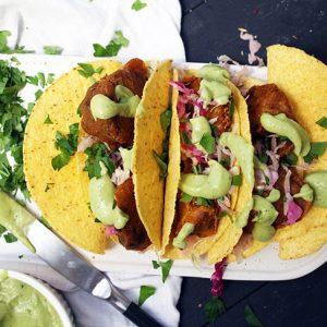 Cauliflower tacos BBQ flavored taco cu conopida